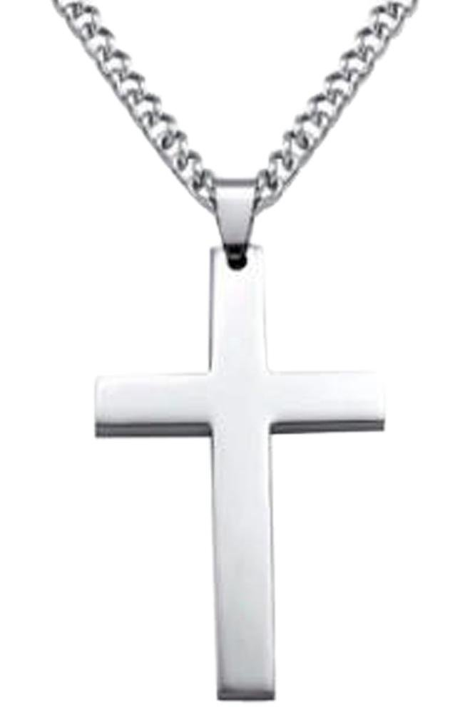 Cross Silver Long Necklace