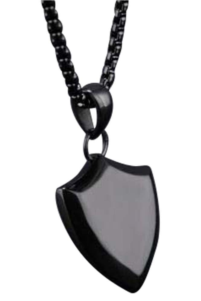 Long Shield Necklace Black