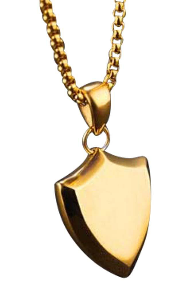 Long Shield Necklace Gold