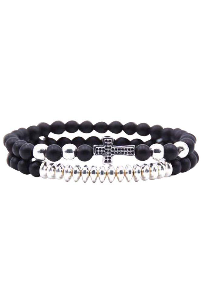 Sinner Cross Double Silver n' Black Bracelet