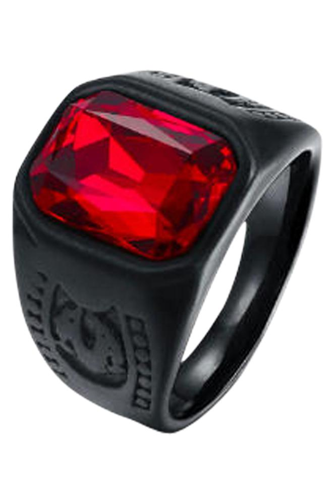 Darkest Black Ring n Red Stone