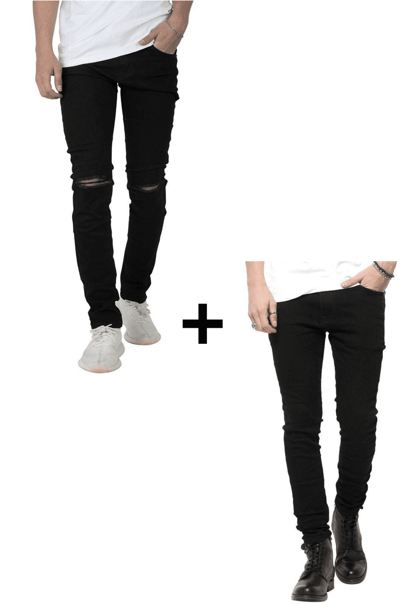 Image of   Jeans-tilbud: Basic Slim Fit Jeans + Knee Cut Slim Fit Jeans
