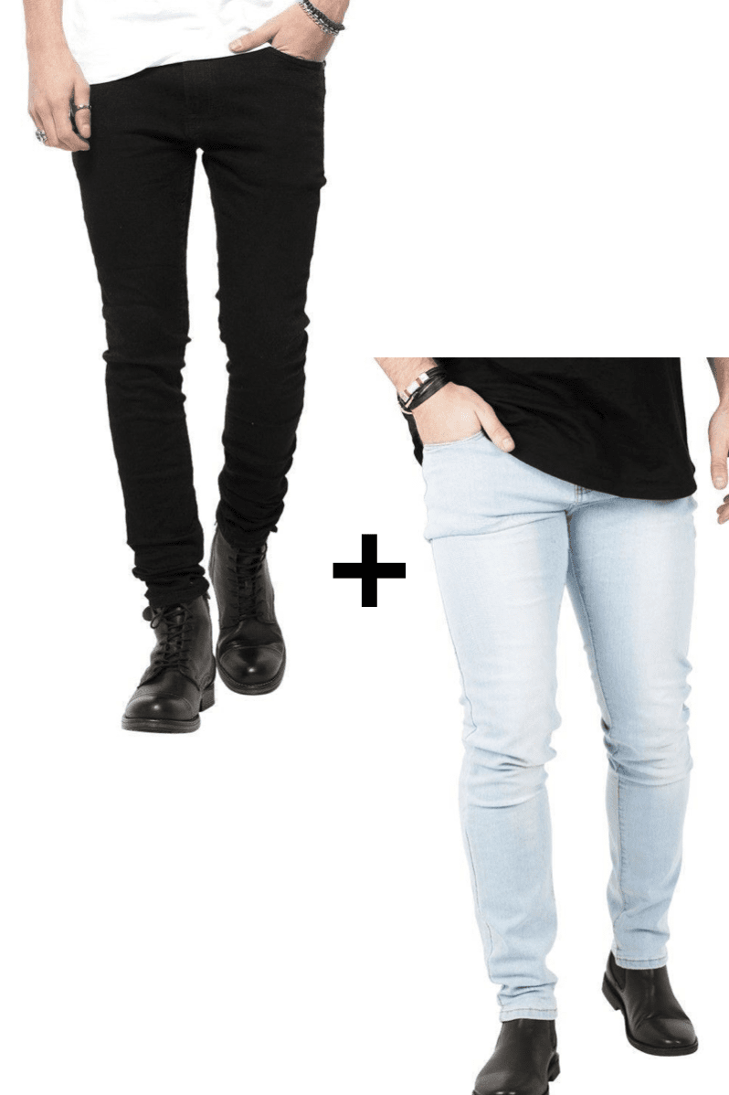 Image of   Jeans-tilbud: Basic Slim Fit Jeans + Blue Basic Slim Fit Jeans