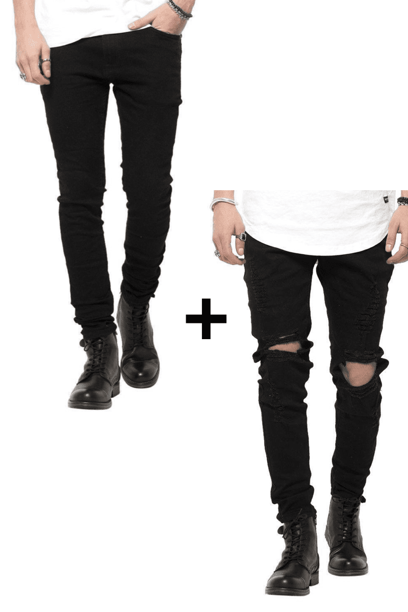 Image of   Jeans-tilbud: Basic Slim Fit Jeans + Black Ripped West Jeans