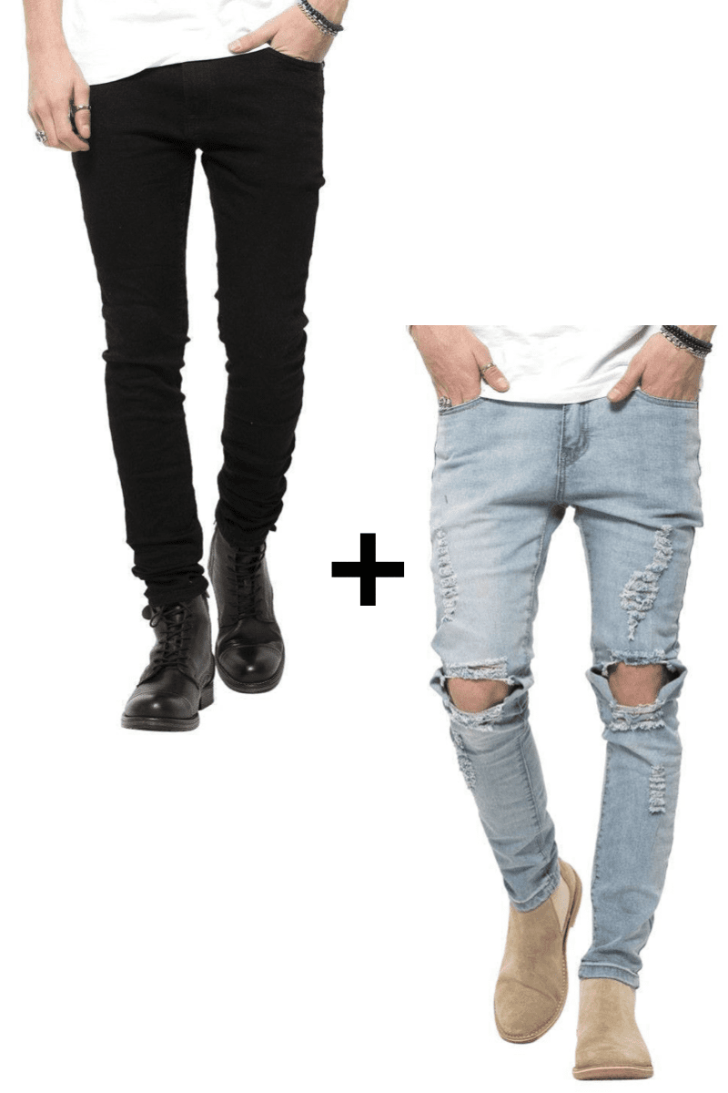 Image of   Jeans-tilbud: Basic Slim Fit Jeans + Blue Ripped West Jeans