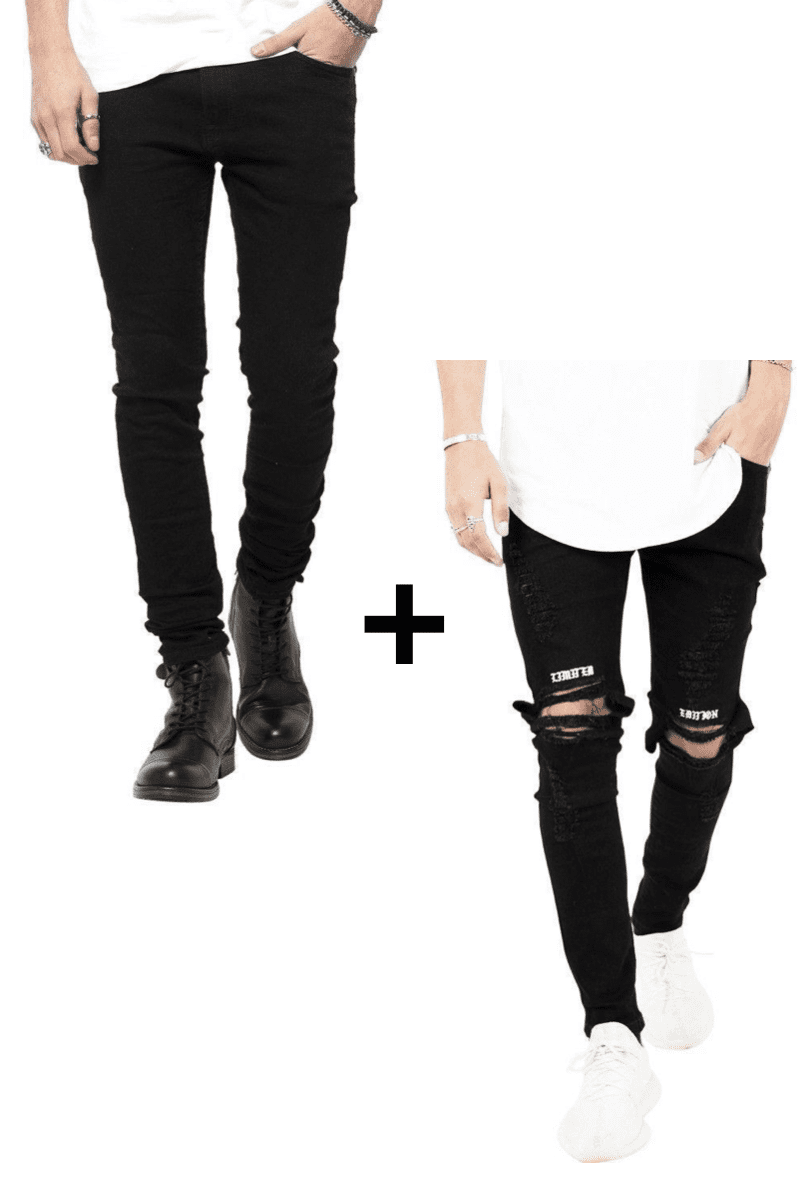 "Image of   Jeans-tilbud: Basic Slim Fit Jeans + ""Limited Edition"" Ripped Rare Black Jeans"