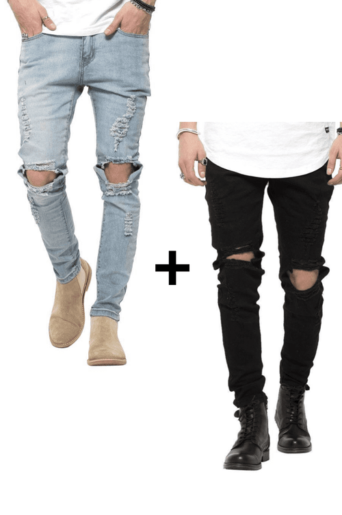 Jeans-tilbud: Blue Ripped West Jeans + Black Ripped West Jeans