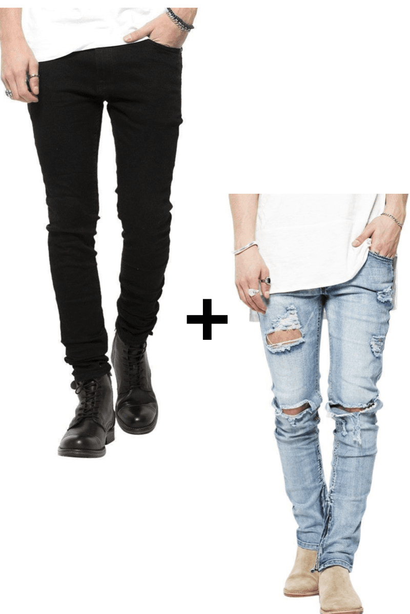 Image of   Jeans-tilbud: Basic Slim Fit Jeans + Blue Distressed Zip Slimfit Jeans