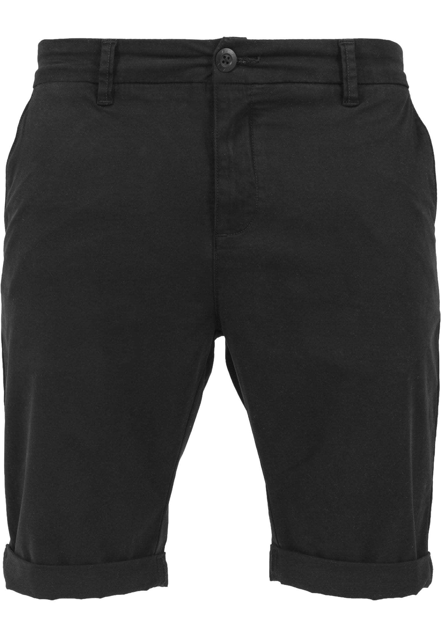 Image of   Stretch Turnup Chino Shorts - Black