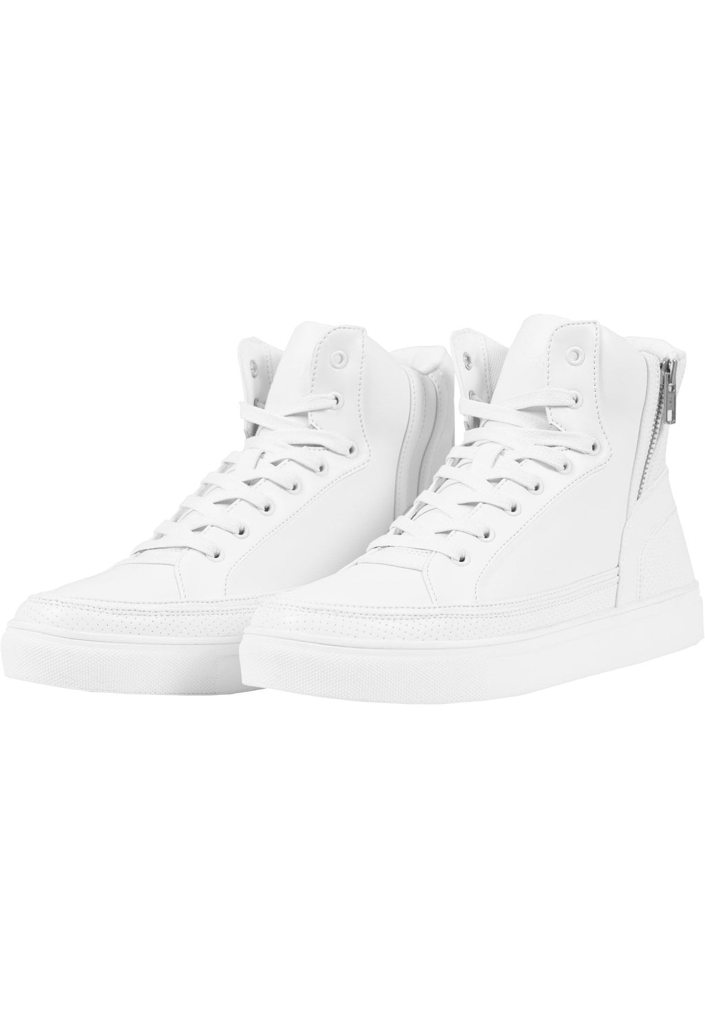 Zipper High Top Shoe - White