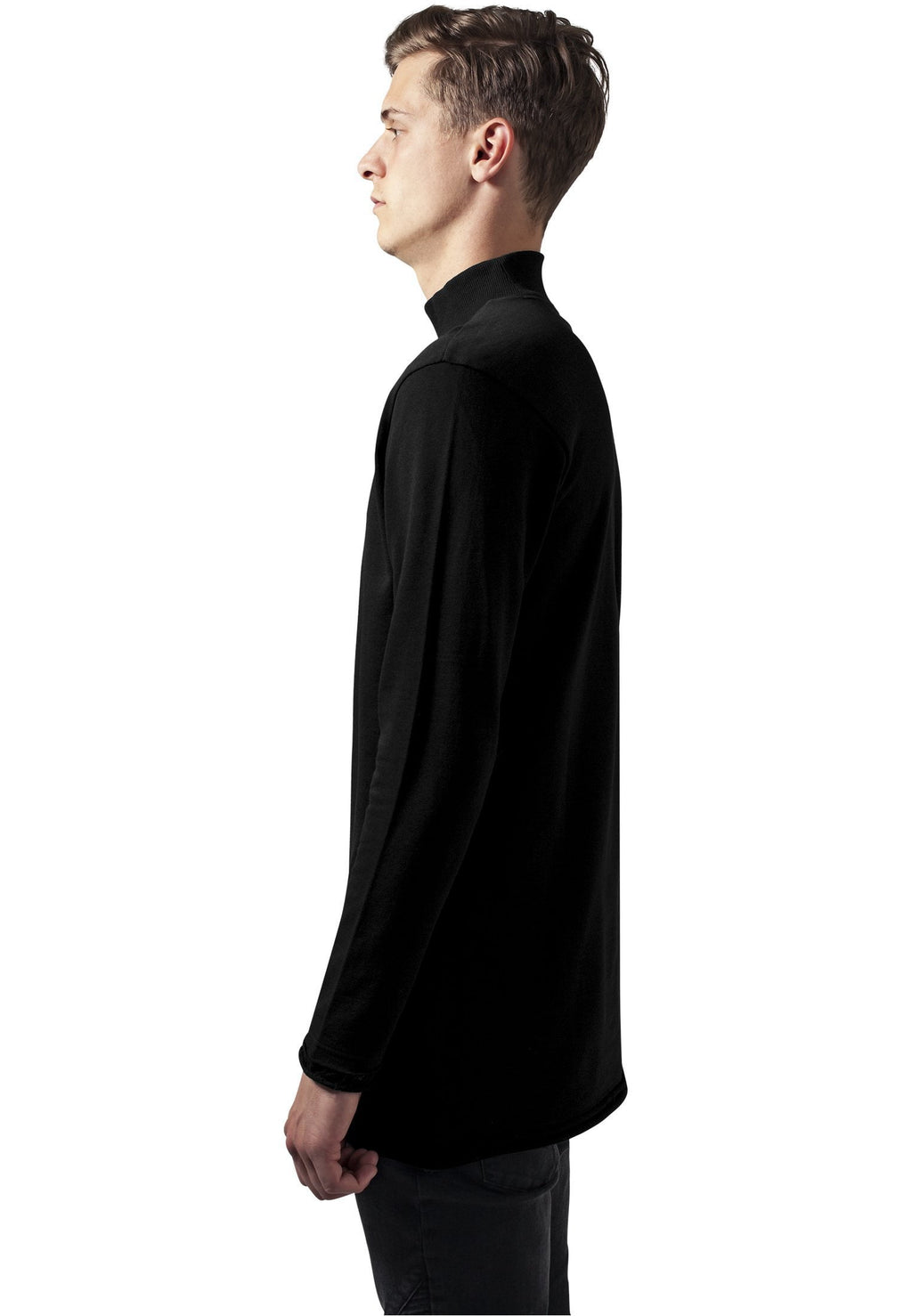 Long Open Edge Turtleneck Crew - Black