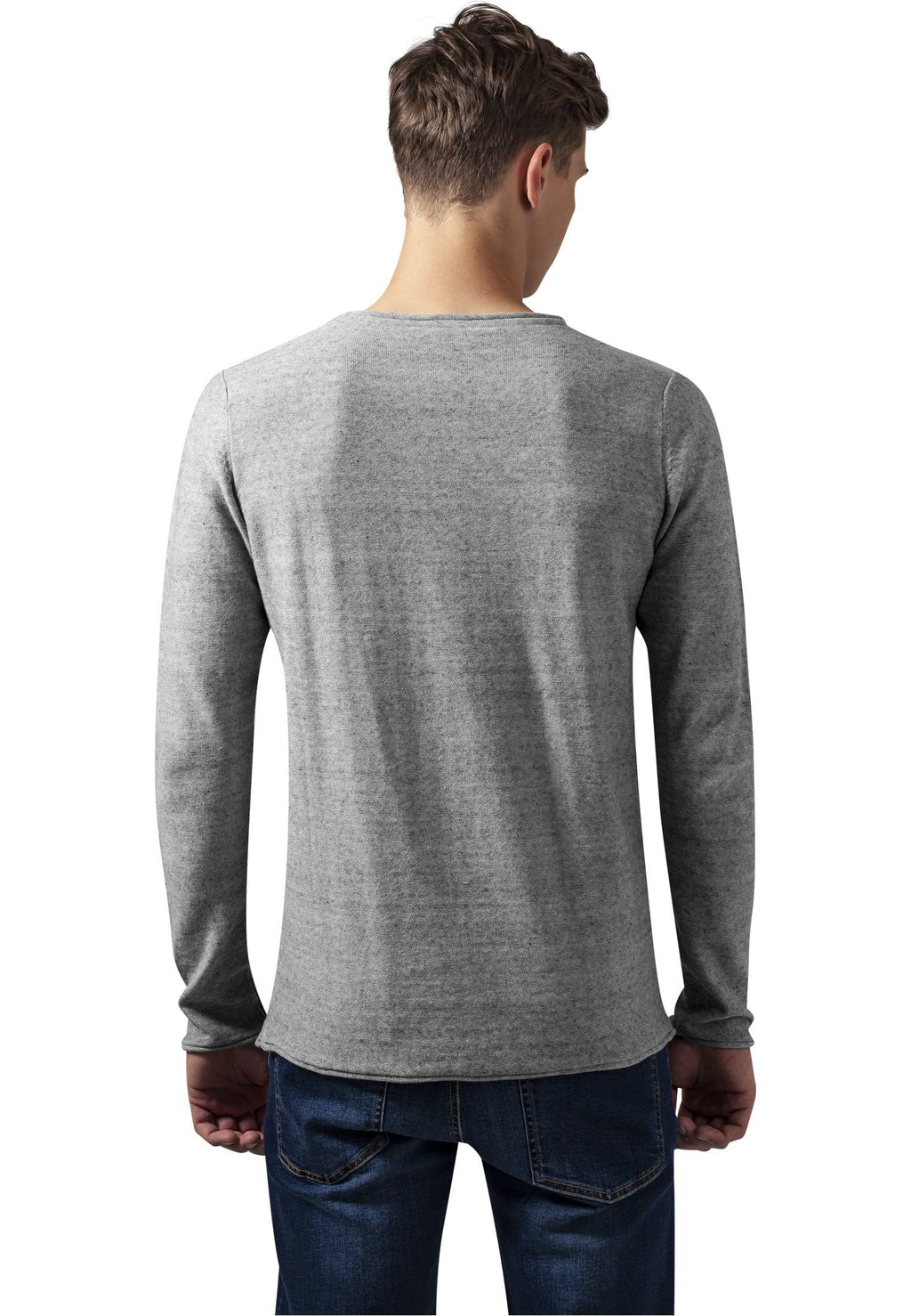 Fine Knit Melange Cotton Sweater - Grey