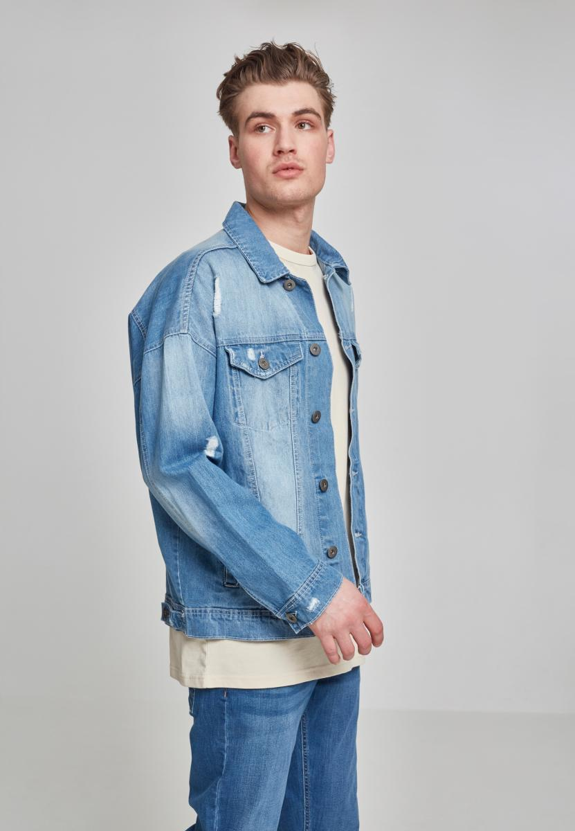 Ripped Denim Jacket - Blue