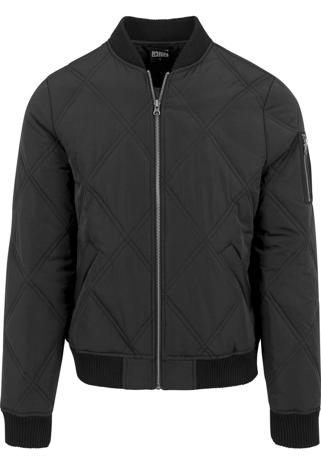 Big Diamond Quilt Bomber Jacket - Black