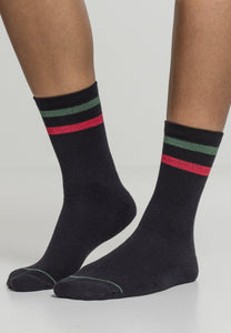 3-Tone College Socks 2 Pack - Black