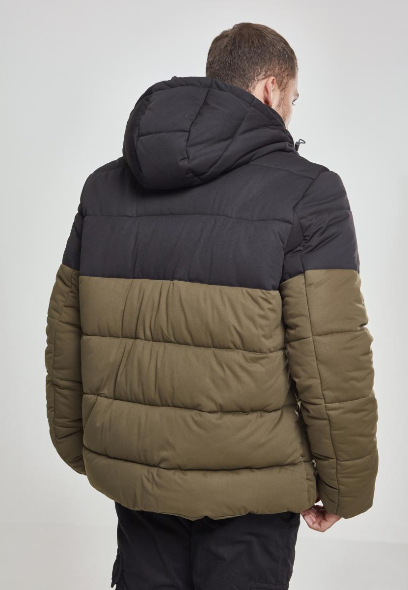 Hooded 2-Tone Puffer Jacket - Black/Army