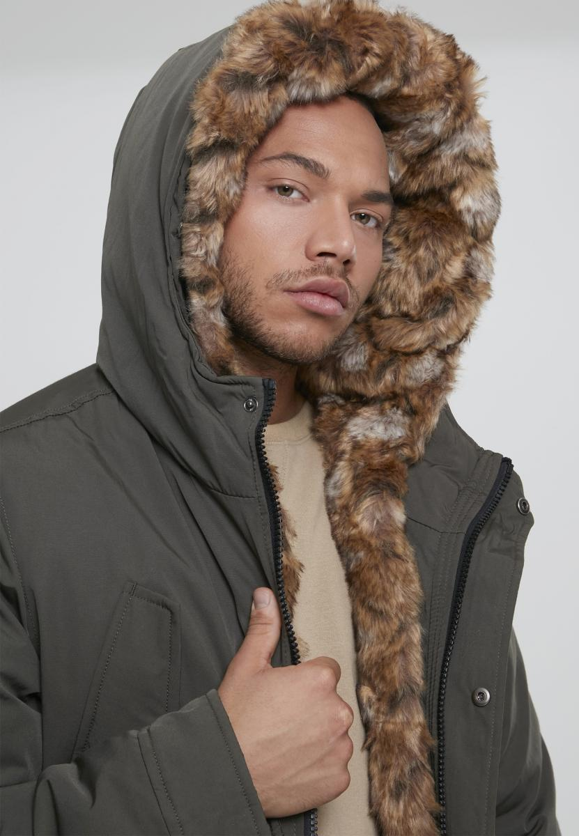 Hooded Faux Fur Parka - Army