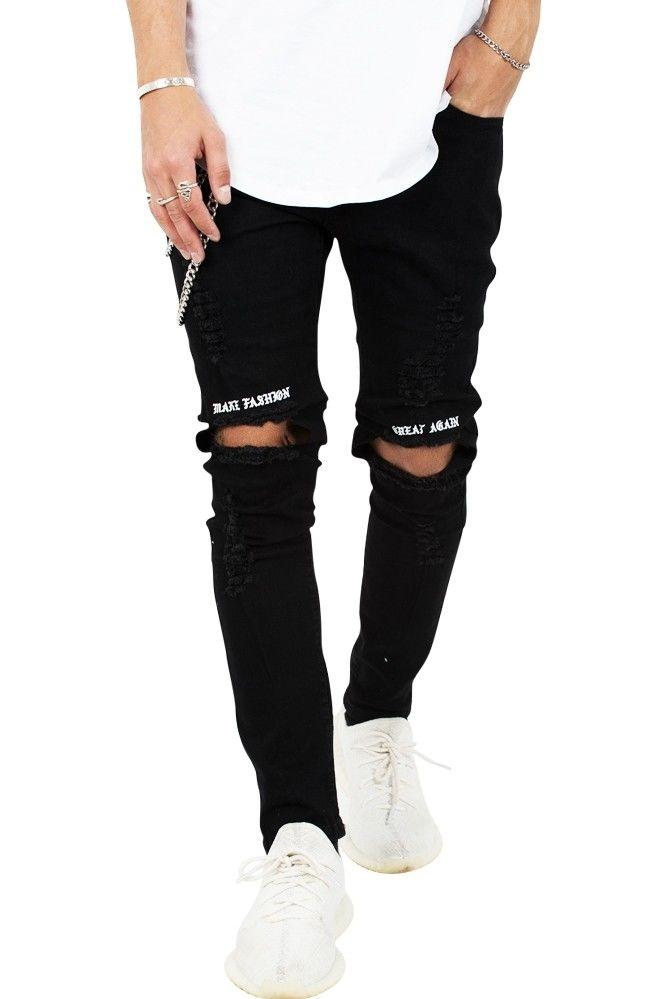 "Image of   ""MAKE FASHION - GREAT AGAIN"" Ripped Rare Black Jeans"