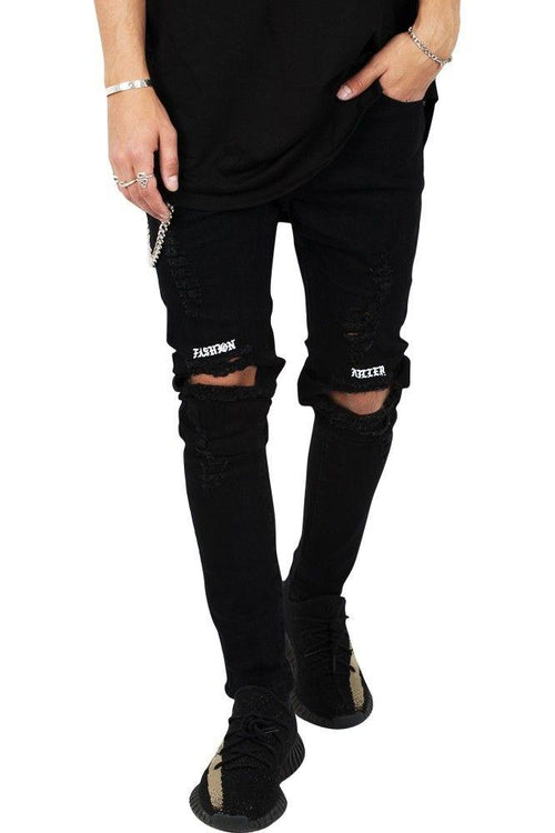 """FASHION KILLER"" Ripped Rare Black Jeans"