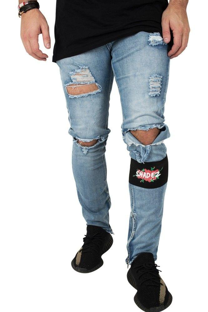 Image of   Shadez Rose Blue Ripped Slimfit Jeans
