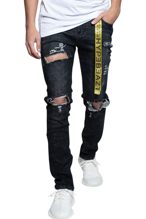 Black Distressed Zip Slimfit Jeans