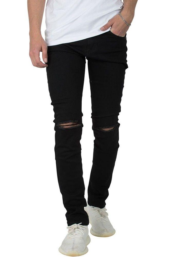 SHADEZ Knee Cut Slim Fit Black Jeans