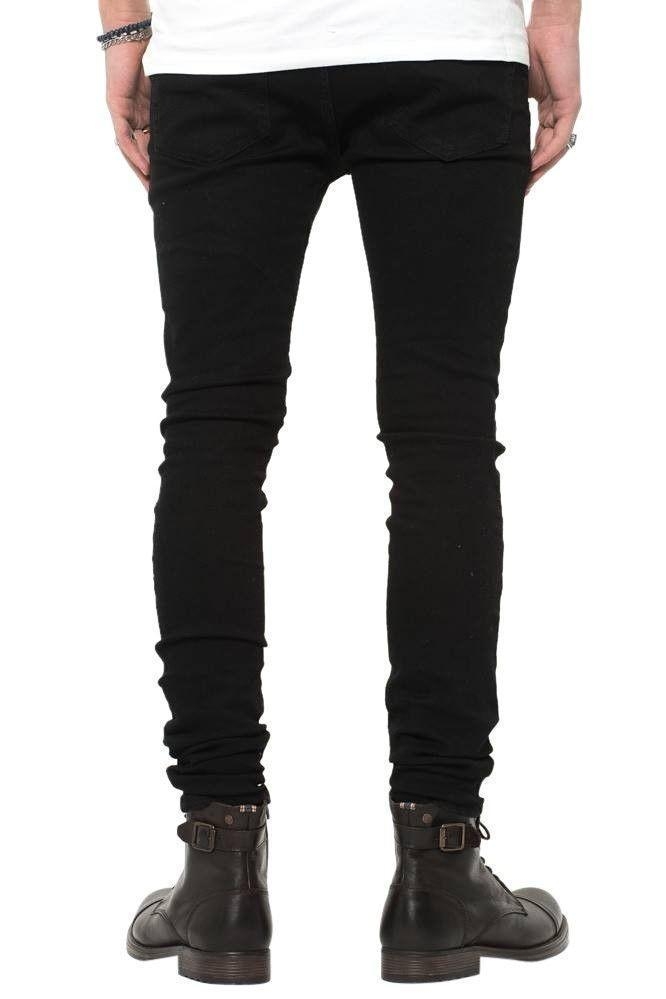 Jeans-tilbud: Basic Slim Fit Jeans + Black Ripped West Jeans