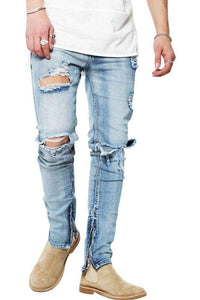 Jeans-tilbud: Basic Slim Fit Jeans + Blue Distressed Zip Slimfit Jeans