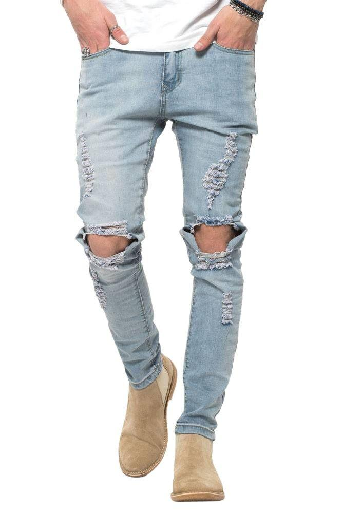 Blue RIPPED West Jeans