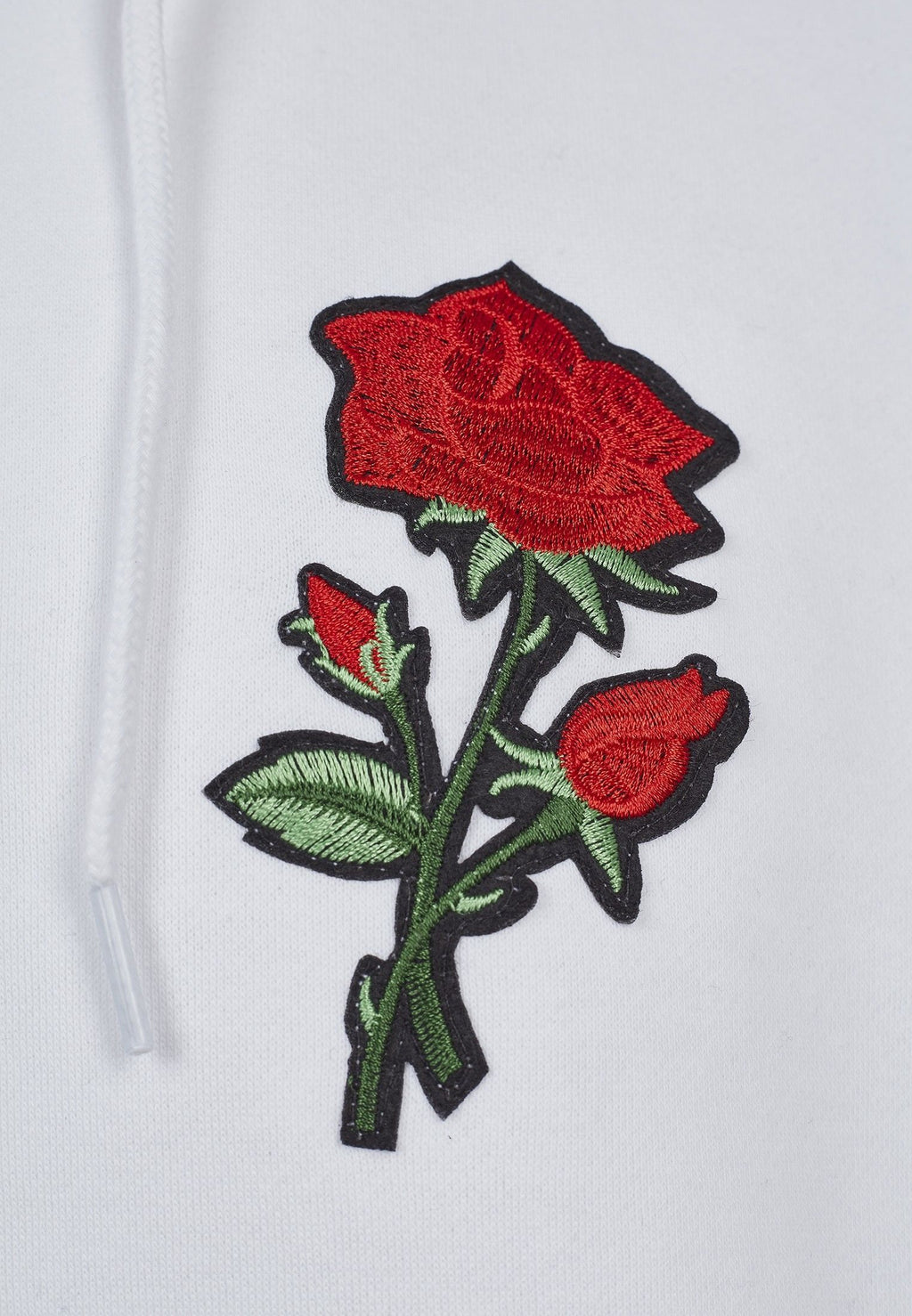 Embroidered Rose Hoody - White