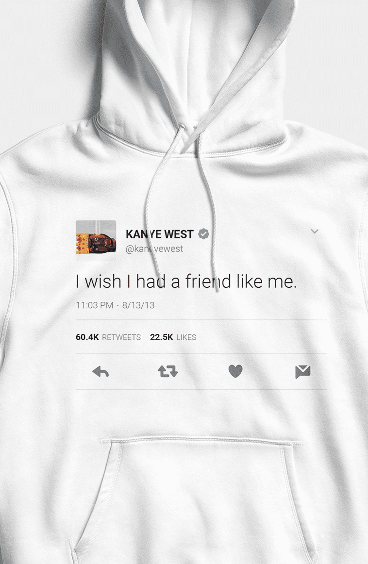 I wish I had a friend like me Hoodie - White