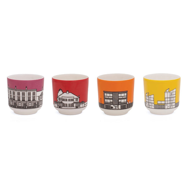 Eclectic avenue fine bone china egg cups with architectural illustration and bright colours, pink, red, orange and yellow. Made by People Will Always Need Plates
