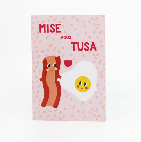 mise agus tusa bacon and eggs irish language valentines card as gaeilge