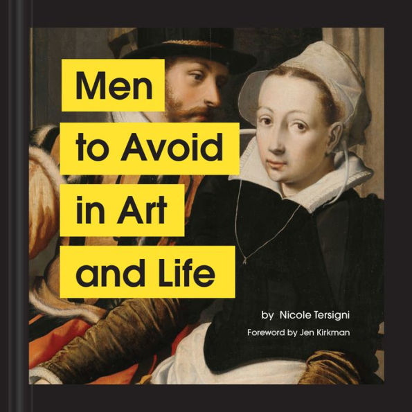 cover of the book. a renaissance painting of a man leaning in to a woman. there is four yellow rectangles with  text in black stating the title