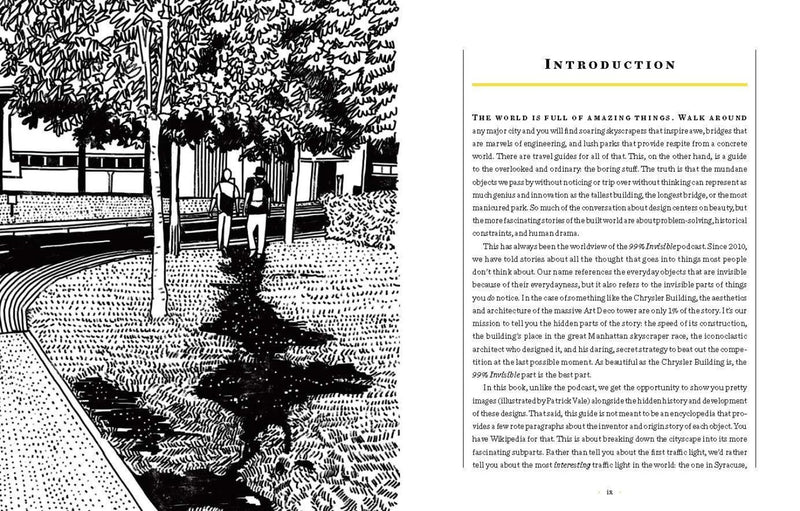 open spread of the book pages. the left is a black and white illustration of two men walking across grass through trees and the right is the introduction of the book.