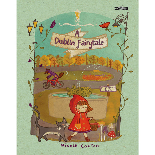 book cover with illustration of st. stephen's green in dublin and girl in red coat in the foreground.