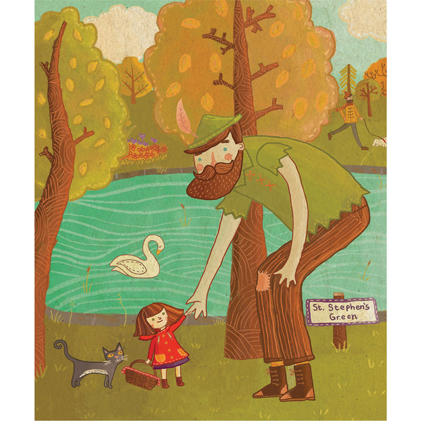 illustration from book at pond in st. stephen's green with small girl shaking hands with a giant.