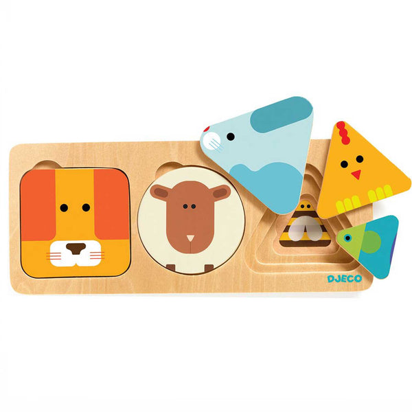 shapes and animals wooden puzzle with square lion, circle sheep and 3 differnet sized triangles with a seal, chicken and fish