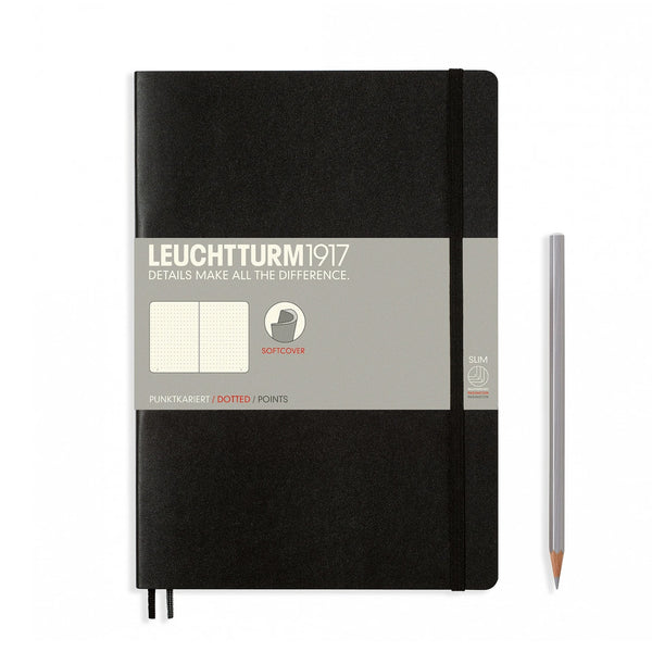 Leuchtturm1917 B5 Soft Cover Notebook - Black - Dotted