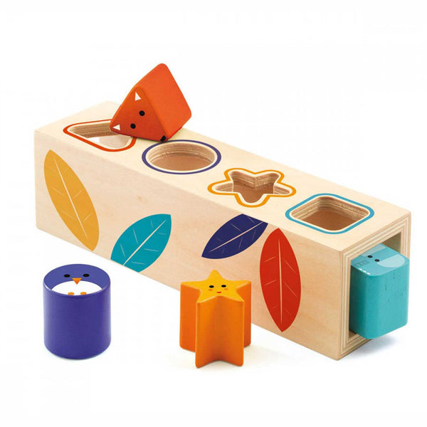 wooden animal shapes puzzle with leaf pattern and  yellow star purple cylinder orange triangle blue square shapes