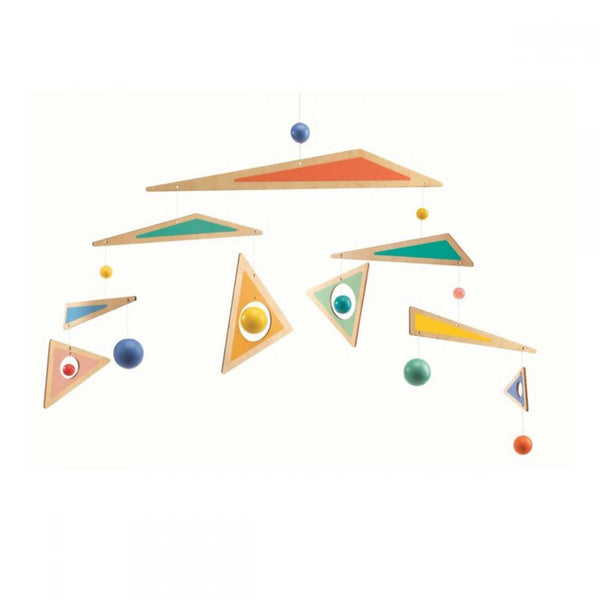 hanging mobile of multi tiered wooden triangles painted orange green blue and yellow and coloured balls attached by string