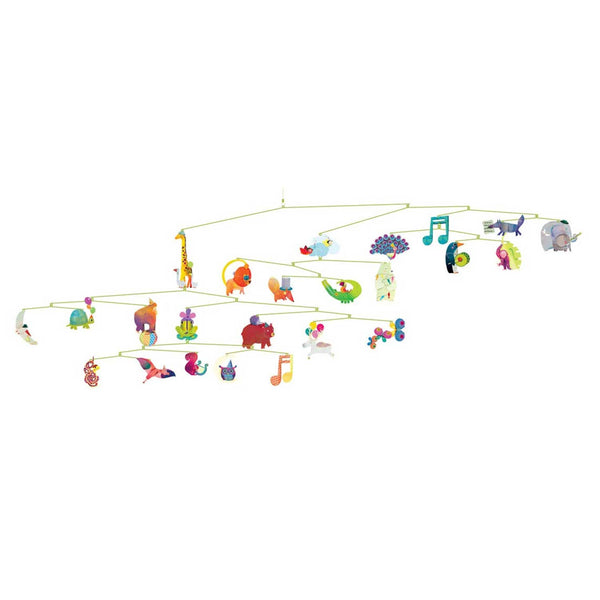 Carnival of animals mobile with colourful animal music notes and moon shapes hanging on multi tiered metal wire