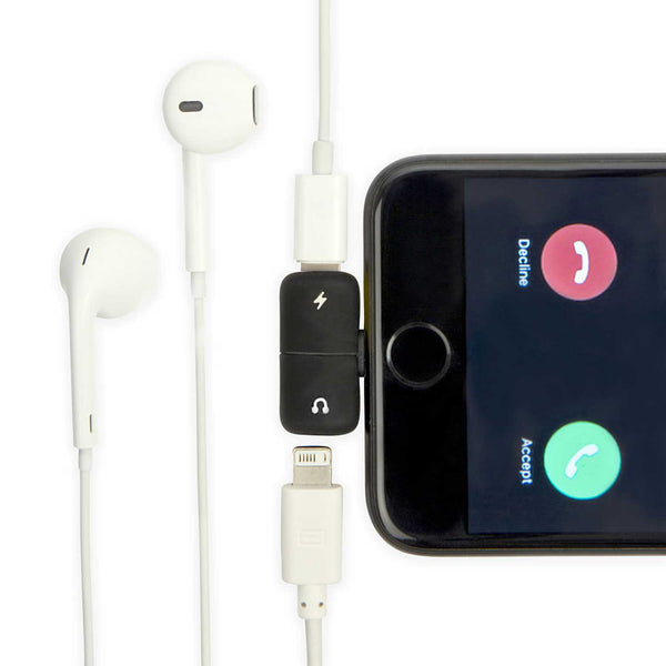 white headphones and white wire attached to black iphone with a black connector with white symbols on front against a white background