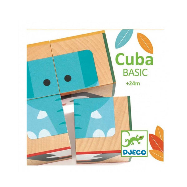 Cuba Basic wooden toy product packaging with blue elephant illustration against white background