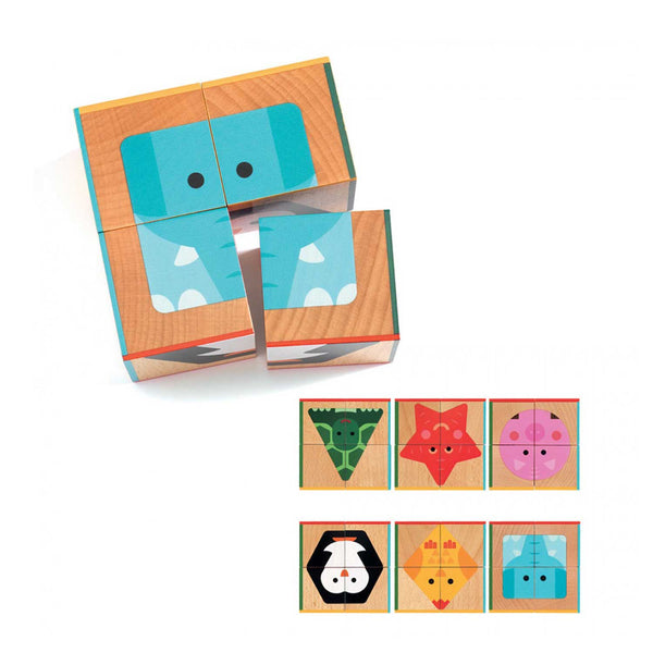 wooden shape and animal cube toy with blue elephant image divided among four cube sides and six squares illustrating all cube sides with turtle, star, pig, penguin, chick and elephant
