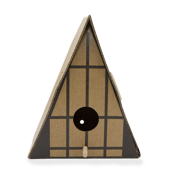 assembles triangular cardboard birdhouse with black line pattern and circular hole in centre and wooden dowel protruding from birdhouse beneath hole