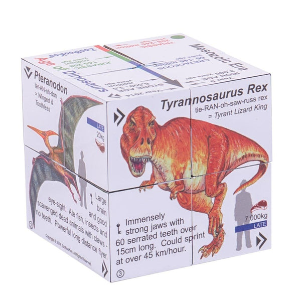the cube book with a tyrannosaurus rex on one side and pteranodon on another with information around each dinosaur