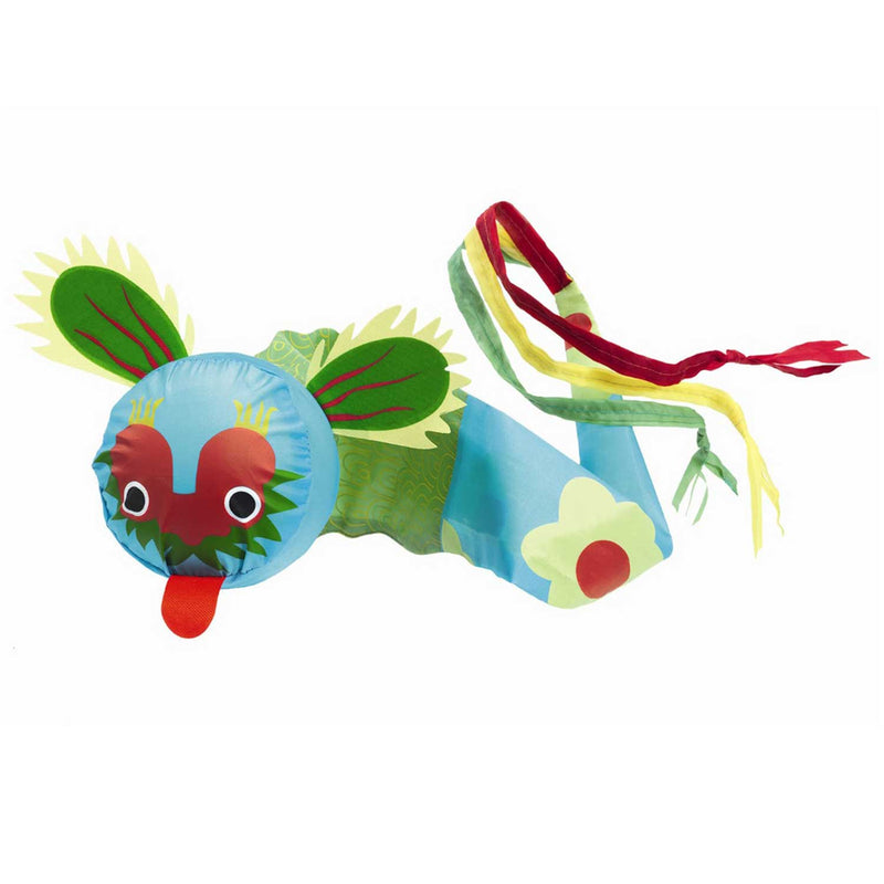 green blue and red fabric dragon throwing ball with green ears tongue sticking out and long tail