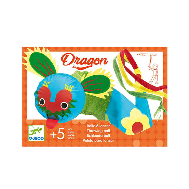 dragon throwing ball product box with blue green and red fabric dragon on cover