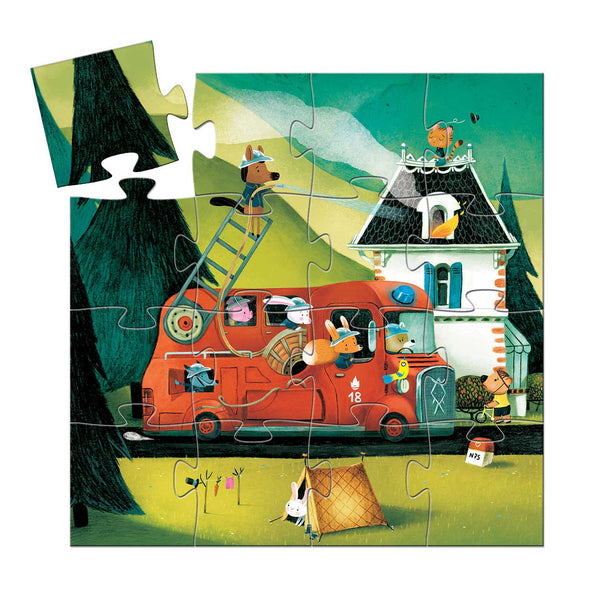 16 piece cartoon illustrated jigsaw with trees house and fire truck manned by five animal fire fighters